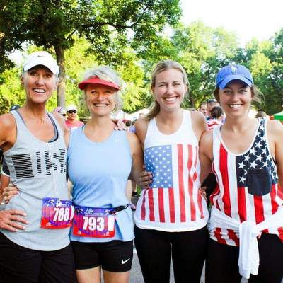 Runners wearing the U.S. colors during the FireKracker 5k.